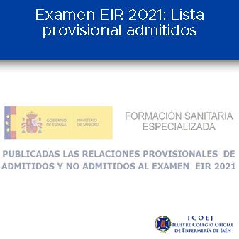 Examen EIR 2021 Lista provisional admitidos