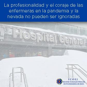 profesionalidad enfermera pandemia y nieve